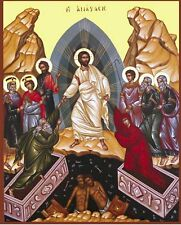 Resurrection of Jesus Christ - Hand painted  Byzantine Icon on wood 22 karat