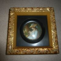 Antique Vintage Lady Hamilton Miniature Portrait Painting Framed