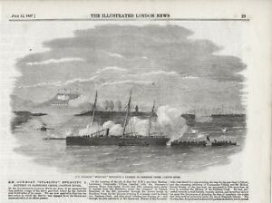 OLD 1857 PRINT H M GUNBOAT STARLING ENGAGING A BATTERY CANTON RIVER CHINA S9