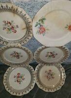 """6 Vintage HOMER LAUGHLIN Floral & Unbranded Gold & Floral Plates 6 1/4"""" Lot"""