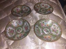"Set of 4 Old Antique Chinese Porcelain Rose Medallion 4 7/8"" Bowls Dishes Plates"