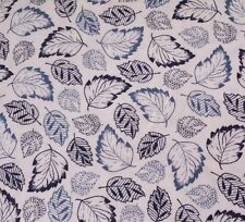 French Navy Studio 8 Quilting Treasures BTY Blue Navy Leaves on Ivory