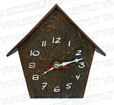 Orologio da muro parete in legno a forma di casetta design artigianale