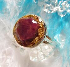 ORGONE Ring with natural RUBY & REAL GOLD - open your heart and welcome wealth