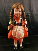 18 GERMAN or Italian COMPOSITION DOLL in beautiful dress bright blue sleep eyes