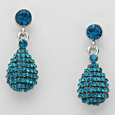"""Lush Glam Silver 1.25"""" Blue Zircon Pave Crystal Cocktail Earrings Rocks Boutique"""