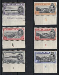 ASCENSION 1938-53 GVI Marginal Values Most With Plate Numbers All Perf 13 MNH