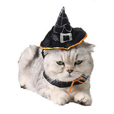 Pet Dog Cat Halloween Costume Clothes Witch Hat Cloak Cape Cosplay Fancy Dress