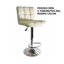 Taburete Comfort, eco piel beige, cromado, giratorio, altura regulable