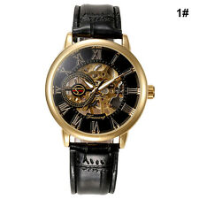 Luxury Mens Steampunk Skeleton Stainless Steel Automatic Mechanical Wrist Watch*