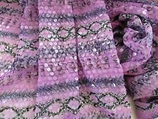 "1-yrd 27"" inches Purple-Black Snake Print Chiffon Fabric+Clear Sequin Design New"