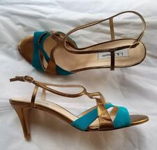 New L. K.  BENNETT Turquoise Suede Bronze Leather Heels Sandals Shoes 39.5