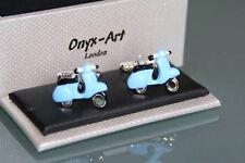 Cufflinks - Vespa Scooter Blue Design * New * Gift