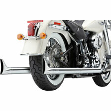 Bassani Softail Dual Exhaust System Fishtail Tips 2007-11 Harley Softails