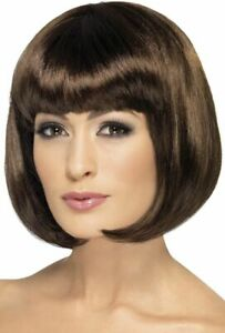 Smiffys 12-inch Partyrama Wig Short Bob with Fringe - Brown