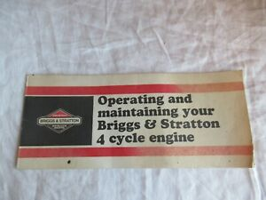 1980 Briggs & Stratton operating and maintaining 4 cycle engine brochure