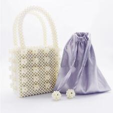 Ladies Handmade Handbag Pearl Beaded Bag Weave Totes Crystal Flowers Clutch Bags