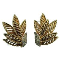 Hattie Carnegie Crystal Leaf Earrings Clip On Signed Vintage 1960s