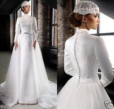 Vintage Long Sleeve High Neck Lace Muslim Bridal gown Wedding Dress Custom Size