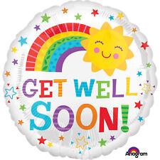 "GET WELL SOON 18"" Round Happy Sun Rainbow Foil Helium BALLOON Feel Better Unwell"