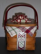 Longaberger TREE TRIMMING 2013 LITTLE PLAID Red TIDINGS BASKET Liner PROT & Lid