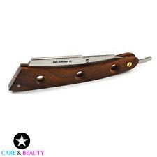Straight Edge Barber Shaving Razor Folding Knife Beard Styling Wooden Hand New