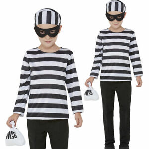 Baby Pirate Convict Biker Costume Kids Prisoner Girls Boys Fancy Dress Outfit