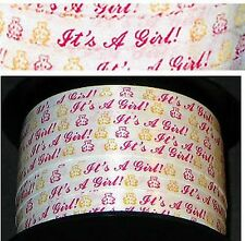 """1/4"""" It'S A Girl Pink White & Yellow Curling Ribbon *20Yds* Teddy Bears"""