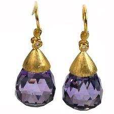 De Buman 24.83ctw Genuine Amethyst & Diamond Solid 18K Yellow Gold Earrings
