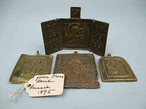 4 18th 19th century Russian Bronze Icons - Including Triptych Virgin Smolensk BR
