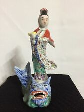Antique Chinese Porcelain Famille Rose Statue Guanyin Figure Mark