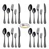 20 Piece Flatware Silverware Set Stainless Steel Spoon Fork Knife BLACK Cutlery
