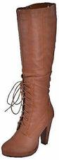 COGNAC KURODA-1 Women Lace Up Knee High Platform Boot Size 7.5