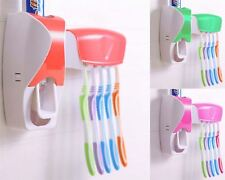 New Automatic Toothpaste Dispenser Toothbrush Holder Stand Wall Mounted Bathroom