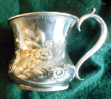 Antique 1850s American Coin Silver Repousse Cup Mug ~