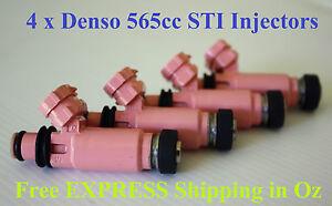 4 Denso Sti Fuel Injectors 565cc for Subaru Impreza XT GT WRX VF34 GDA GDB