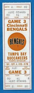 1976 Tampa Bay Buccaneers Full Game Ticket 1st Season Cincinnati Bengals Unused