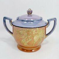 Chikaramachi Antique Japan Lusterware Gold Hand Painted Sugar Bowl & Lid