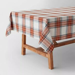 "Threshold- 104"" x 60"" Cotton Yarn Dyed Plaid Tablecloth"