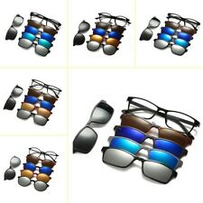 Magnetic Sunglasses With Clip-on Frame Rx Polarized 5 Pieces Glasses Spectacle