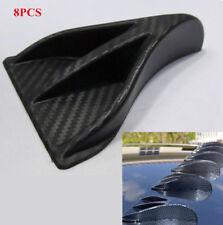 8Pcs Black Carbon Fiber Style Auto Car Shark Fin Spoiler Wing Decoration Antenna