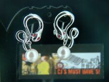 TOP QUALITY SILVER SNAKE PEARL DROP EARRING STUD - RED CRYSTAL  EYES PIERCE EARS