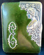 Jugendstil Art Nouveau Antike Silber-Leder Damen seltene Geldbörse aus 1900
