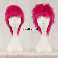 Short layered fluffy spikeable cosplay wig, fuchsia hot pink, UK seller, Jack