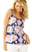 Lilly Pulitzer Cosmos Sleeveless Silk Top Resort Navy NWT