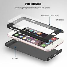 360° Hybrid Ultra Thin Hard Case Cover Tempered Glass For Apple iPhone 5 5S SE