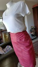 Vintage Vakko Red Leather Pencil Skirt Soft Structured Women's Small