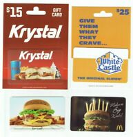 HAMBURGER Gift Card Lot of 4 - White Castle, McDonalds, Burgerfi - No Value
