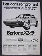 1986 Bertone X1/9 X19 car illustration art vintage print Ad