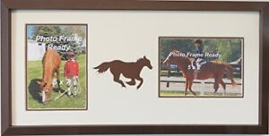 Wall Hanging Horse Themed Pet Double Photo Frame Holds Two 5x7 Photos (Brown)
